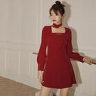 新年戰裙過年衣服拜年小個子紅裙子女秋冬連身裙內搭新款復古 韓國時尚週