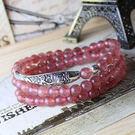 銀 草莓晶手鏈櫻桃紅薔薇輝石  手鏈