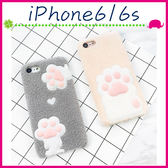 Apple iPhone6/6s 4.7吋 Plus 5.5吋 毛絨貓掌背蓋 可愛貓爪手機殼 PC保護套 立體手機套 秋冬款保護殼
