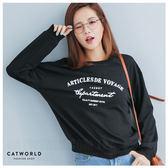 Catworld 英文字印花大學T【11406428】‧F