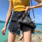 新款韓版大碼牛仔短褲女春夏學生高腰寬鬆顯瘦a字闊腿熱褲裙潮