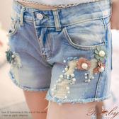 褲子 花朵珍珠刷破造型牛仔短褲-Ruby s 露比午茶