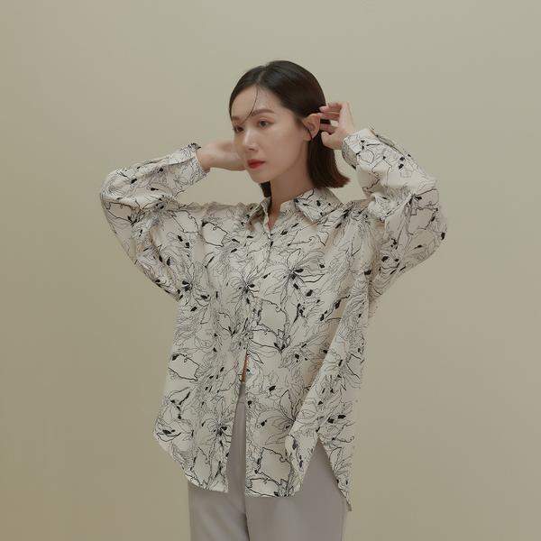 Queen Shop【01024367】文藝線條花紋雪紡襯衫 兩色售*現+預*