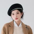 畫家帽 造型帽 瘋帽子氣質小香風羊毛貝雷帽英倫畫家帽女韓版21年秋冬新款復古