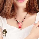 中國風項鍊短款掛飾掛件女花配飾裝飾品復古民族風鎖骨鍊