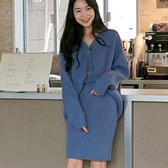 套裝 甜美三粒釦針織外套+素面洋裝 艾爾莎【TGK7245】