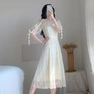 洋裝小禮服 韓系蕾絲中長款連身裙 花漾小姐【預購】