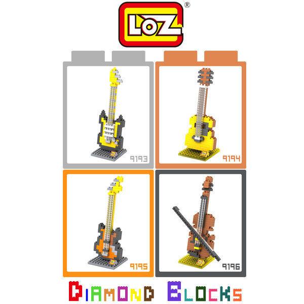 ☆愛思摩比☆ LOZ 鑽石積木 9193 - 9196 樂器系列 電吉他 木吉他 貝斯 小提琴 益智玩具 迷你積木