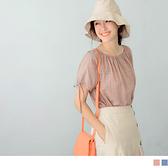 《AB12923》唯美高含棉格紋平口鬆緊兩穿綁結袖上衣--適 2L~6L OrangeBear