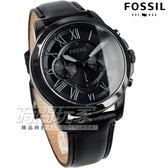 FOSSIL  公司貨 旗艦三眼計時復刻腕錶 真皮錶帶 男錶 IP黑電鍍 FS5132 防水手錶