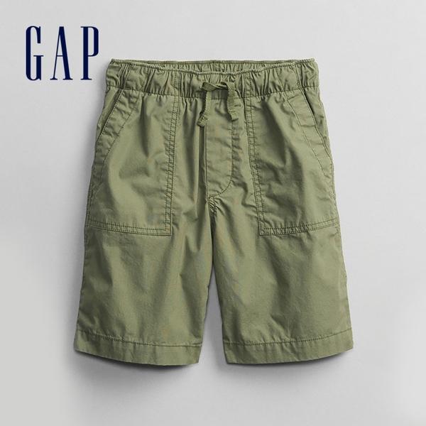 Gap男童 工裝風繫帶透氣短褲 702071-綠色