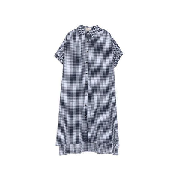 Queen Shop【01023341】配色格紋連袖長版棉麻洋裝*現+預*