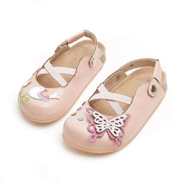 【Jingle】夢幻蝴蝶花園前包後空軟木休閒鞋(甜美粉兒童款)