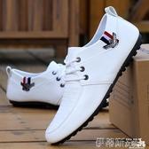 豆豆鞋豆豆鞋男新款休閒皮鞋韓版男鞋夏季透氣軟底小白鞋黑色鞋子秋 伊蒂斯