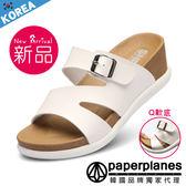 涼鞋 正韓製 歐美風 鎖釦飾 涼感 套腳 乳膠舒壓 楔型涼拖鞋  【B7900253】二色 韓國品牌紙飛機