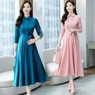 2021早春夏新款醋酸緞面七分袖貴婦洋裝修身顯瘦時尚中長裙 快速出貨