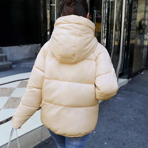 【現貨】梨卡 - 秋冬保暖外套短款加厚連帽鋪棉仿羽絨外套大衣風衣AR079