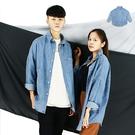 長襯-寬版落肩牛仔長襯-韓風個性街頭熱銷款《 9990C210》淺藍色『RFD』
