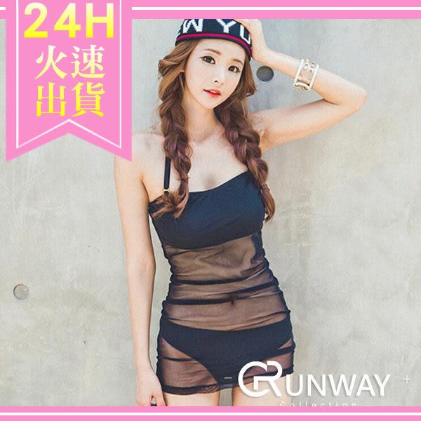 【R】現貨- 韓國 2016  時尚 性感 網紗 比基尼 遮蓋 泳裝 泳衣 三角連體 沙灘裝 衝浪