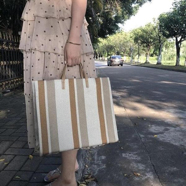 托特包-ins超火春夏季帆布包 2021新款韓國東大門條紋單肩大包托特手提包