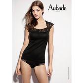 Aubade-長纖綿L蕾絲短袖上衣(黑)EK