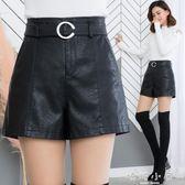 皮短褲女2018新款冬季百搭高腰寬鬆顯瘦闊腿外穿打底a字pu皮短褲 嬌糖小屋