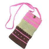 手編手機袋 / 粉紅愛心 (適用5.5吋以下手機)
