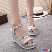 【Bbay】 楔型涼鞋 坡跟涼鞋 平底 高跟鞋 粗跟 防滑厚底 魚嘴鞋