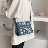 今年流行帆布小包包2021新款潮斜背包女單肩包百搭時尚鍊條包 快速出貨