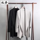風衣男 春裝風衣男韓版新款純色中長款大衣修身學生時尚帥氣披風薄款外套『快速出貨』