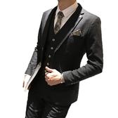 男士西服套裝韓版修身三件套新郎禮服英倫風潮伴郎團結婚西裝外套