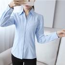 職業襯衫 藍色斜紋襯衫長袖職業V領尖領修身工作服正裝白襯衣女裝-Ballet朵朵