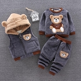 男童套裝 寶寶冬裝三件套加絨加厚女童0-1-3歲2男童裝春款套裝兒童衣服潮【快速出貨八折搶購】