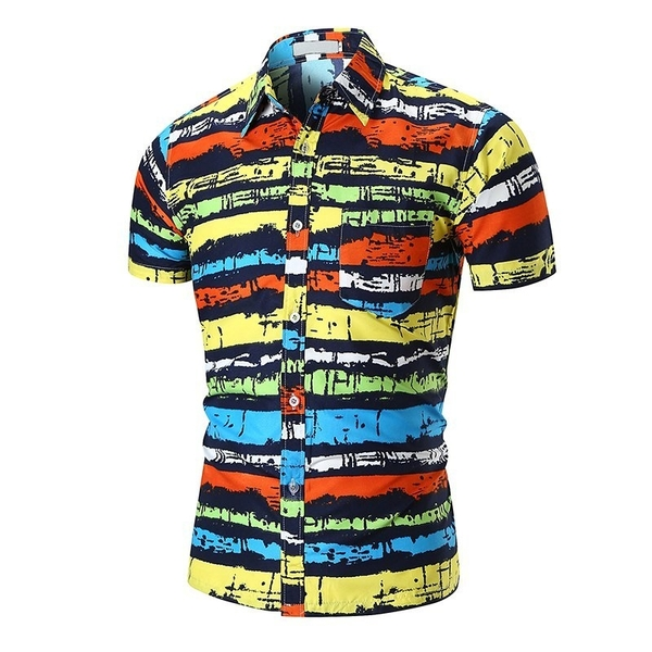 FINDSENSE H1 2018 夏季 新款 個性 彩色條紋 印花 沙灘襯衫