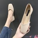 熱賣低跟鞋 單鞋女2021年新款春秋低跟小香風淺口方頭簡約百搭軟皮通勤豆豆鞋 coco