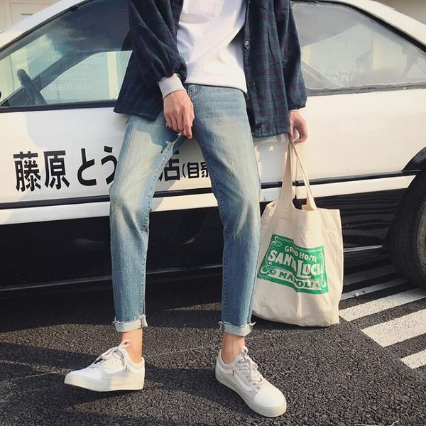 男士春季牛仔褲男 修身韓版潮流新款小腳褲彈力學生九分褲長褲