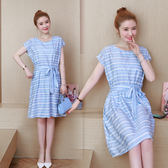 (批發價不退換)6027#新款女裝很仙的法國小眾連身裙氣質時尚條紋收腰流行裙G-673-C日韓屋