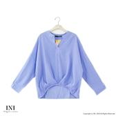 【INI】注目自在、反折袖連袖條紋上衣.藍色