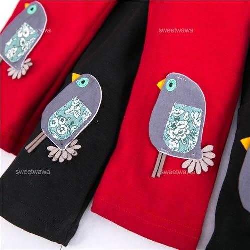 日系拼布歌唱小鳥內搭褲(240096)★水娃娃時尚童裝★