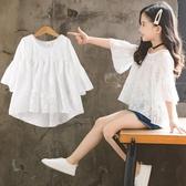 女童T恤 女童短袖t恤2020年夏季新款韓版寬鬆兒童夏裝洋氣中大童雪紡上衣【快速出貨】