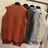 韓版坎肩馬甲學院風無袖寬鬆半高領毛衣圓領針織衫背心潮 小艾時尚