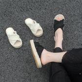 草編拖鞋女外穿時尚平跟韓版百搭防滑涼拖大碼漁夫鞋【時尚大衣櫥】