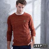 【JEEP】質感圓領漸層刷毛長袖針織衫 (磚紅)