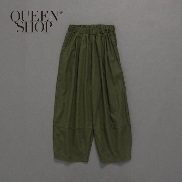 Queen Shop【04080122】親子系列 素面剪接鬆緊寬褲 兩色售 1/2*現+預*