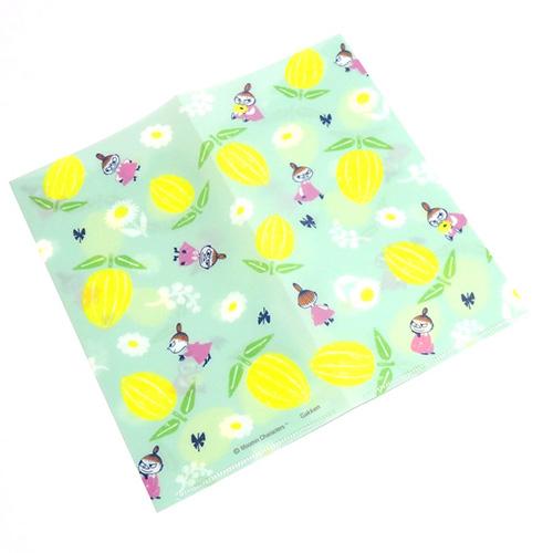 Gakken 日本製PP雙袋式折疊票券收納夾 MOOMIN嚕嚕米 小不點亞美 花花果果 綠_GK00604