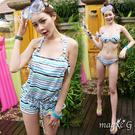 藍條吊帶褲 鋼圈泳裝+連身褲罩衫 三件式 比基尼 泳衣 橘魔法 magic G 現貨 泳裝 顯瘦
