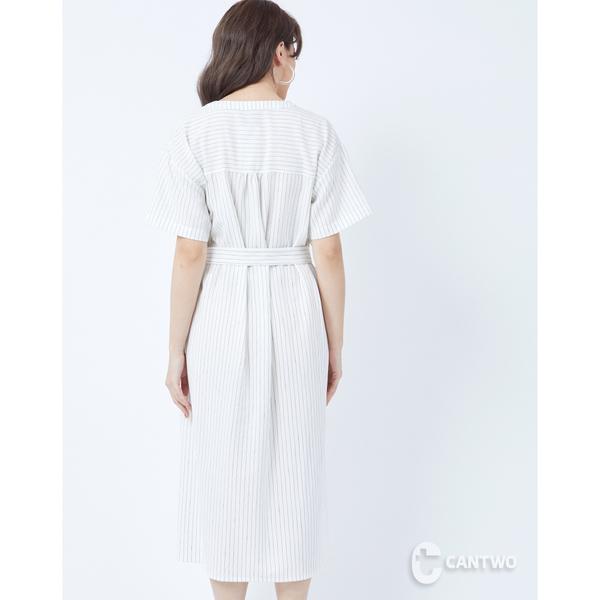 CANTWO綁帶直條紋修身洋裝-白黑條
