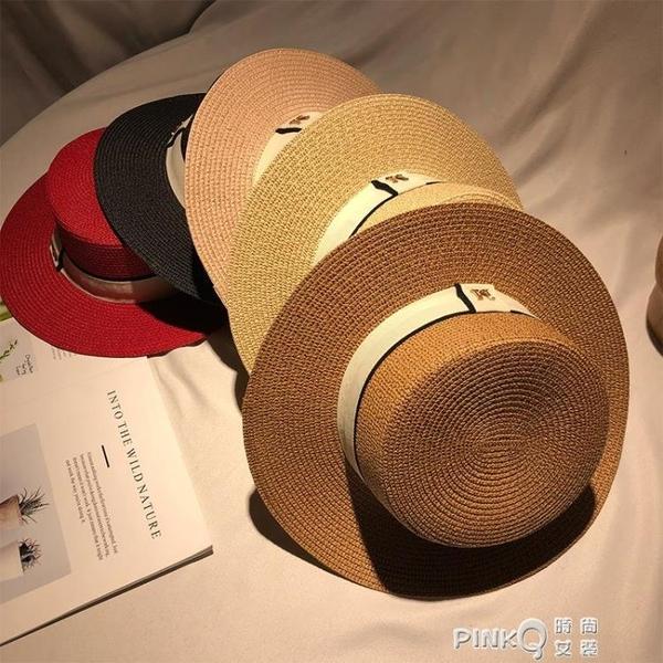 M標帽子女夏季平頂禮帽街頭潮人遮陽太陽帽防曬涼帽爵士英倫草帽 (pinkq 時尚女裝)