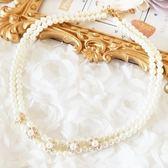 L006-S奢華珍珠水鑽花朵項鍊~服飾搭配~