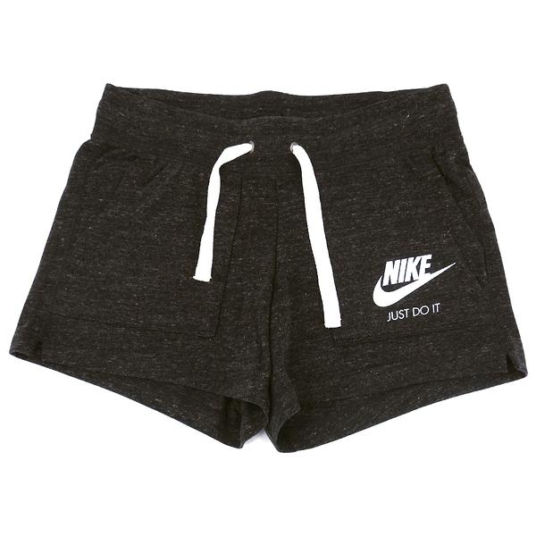 NIKE 短褲 NSW GYM VNTG SHORT 黑灰 白LOGO 慢跑 健身 運動褲 女 (布魯克林) 883734-010